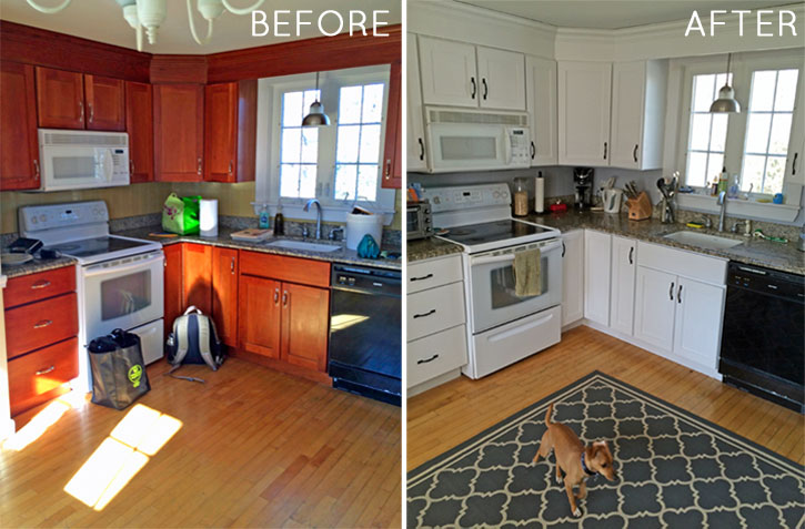 how to paint your kitchen cabinets: before & after